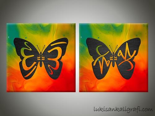 Allah Muhammad Hijau Orange Canvas