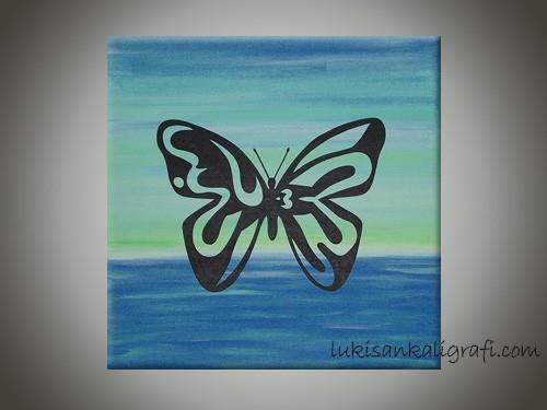 Allah Kupu-kupu Biru Handpainting