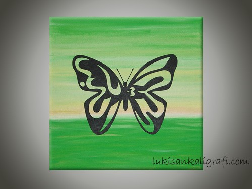 Allah Kupu-kupu Hijau Handpainting